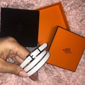 Hermès Rust Triple Wrap Behapi Bracelet/white